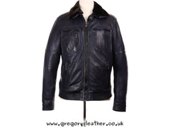 38/48 Navy Mens Leather Jacket Detachable Fur Collar by Trapper