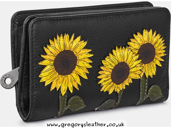 Black Sunflowers Leather Oxford Purse by Yoshi