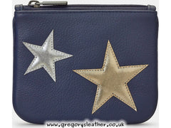 Navy Stars Leather Zip Top Purse by Yoshi