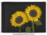 Black Sunflowers Leather Travel Pass Holder by Yoshi