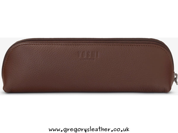 Brown Travel Bookworm Leather Pencil Case by Yoshi