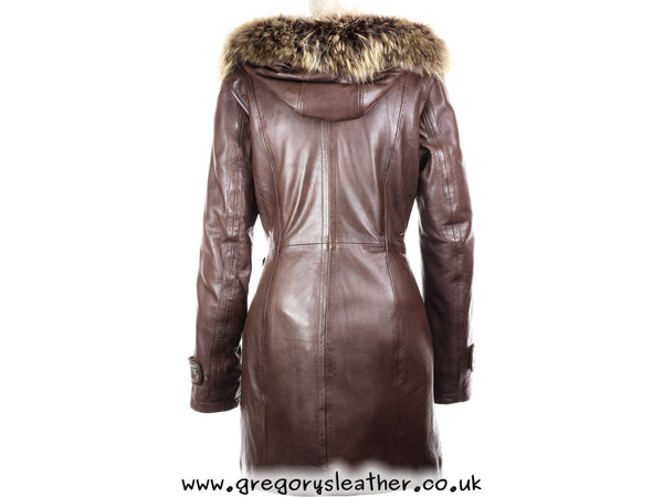 Brown Leather Coat Fox Fur Hood by Ashwood