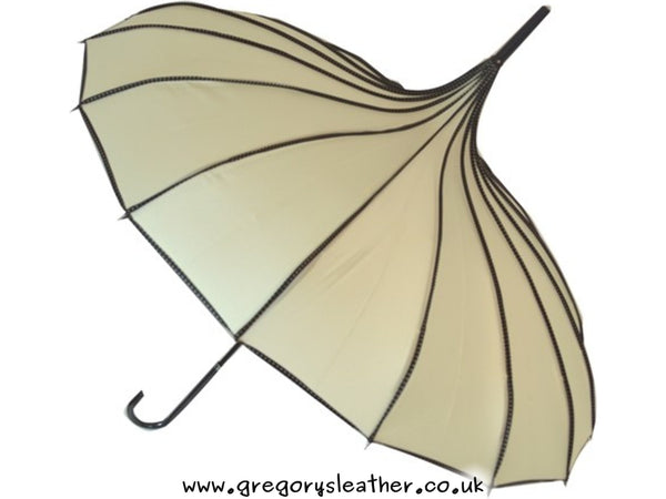 Beige Boutique Ribbed Pagoda Umbrella by Blooming Brollies