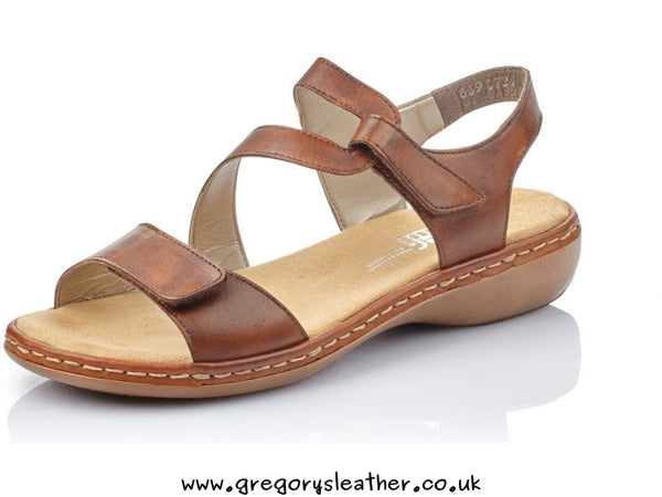 3.5/36 Brown Sandals With Hook And Loop Fastening by Rieker