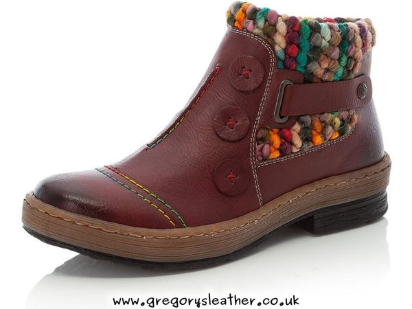 Burgundy Knit Detail Casual Boots by Rieker