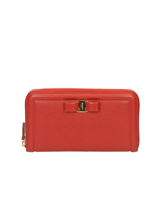 Calfskin Leather Vera Score Organizer Wallet - Red
