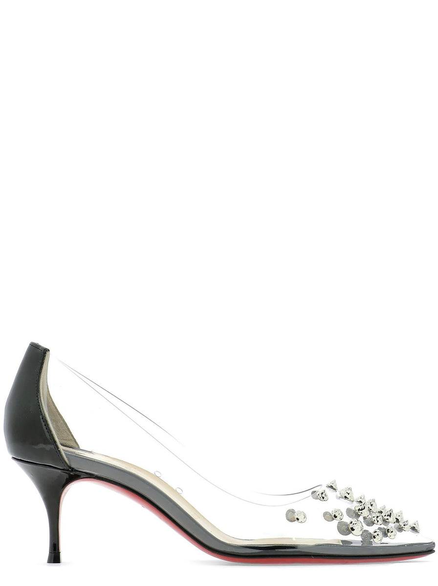 cdc9193f0b4 Collaclou Spike 55 PVC & Patent Leather Pump - Black / Silver