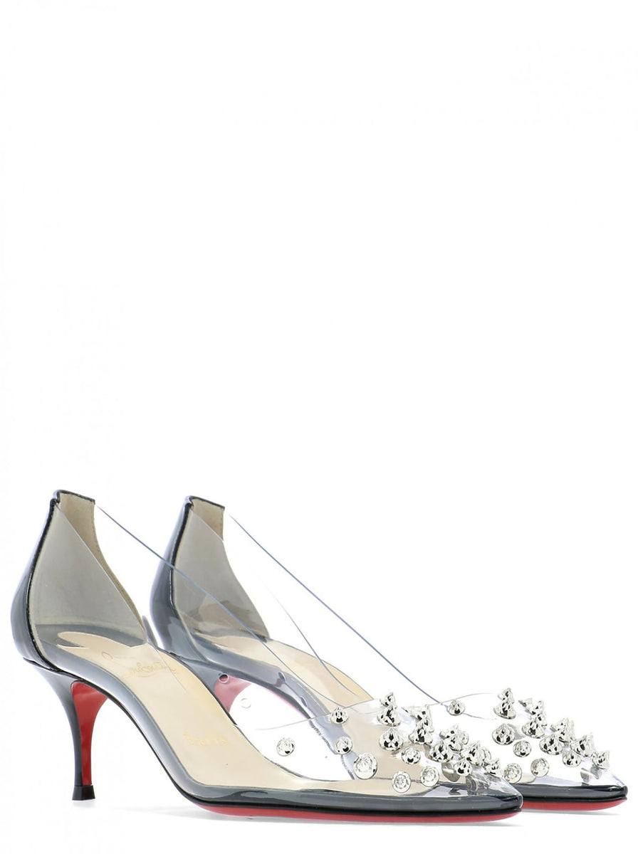 6fc53880f9f Collaclou Spike 55 PVC & Patent Leather Pump - Black / Silver
