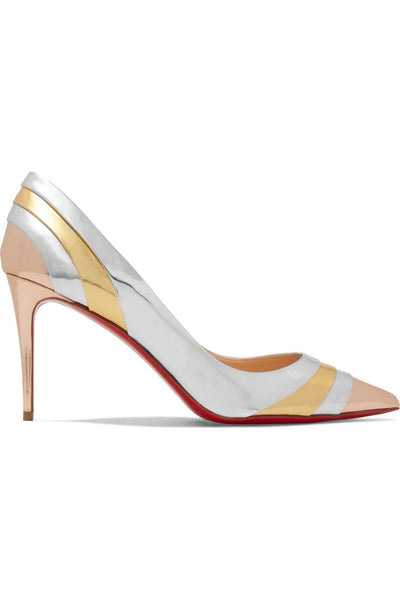 Eklectica Mirrored Leather Pumps - Gold / Silver