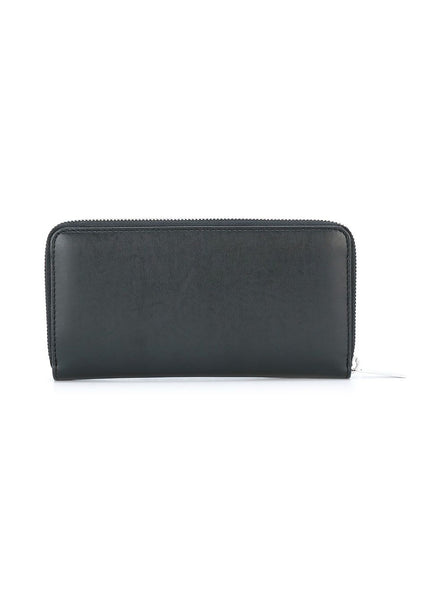Star Motif Faux Leather Zip-Around Wallet - Black / Silver