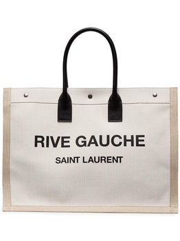 Rive Gauche Leather & Linen Logo Tote Bag