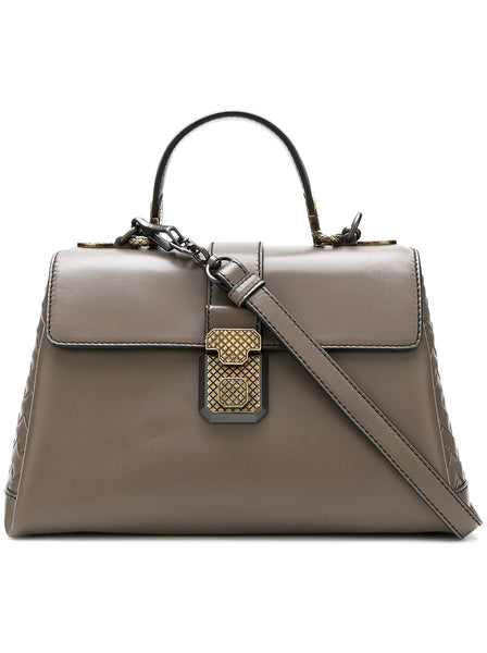 Piazza Calf Leather Intrecciato Detail Handbag