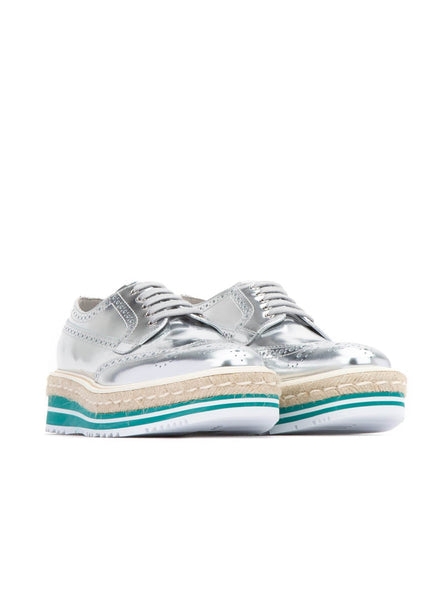 Leather Wingtip Platform Brogue Women Sneakers - Sliver