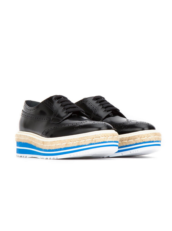 Patent Leather Wingtip Brogue Platform Women Sneakers - Black