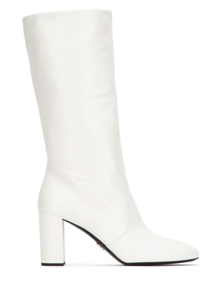 85MM Leather Knee Boots - White