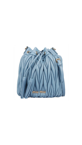 Matelasse Leather Bucket Bag - Gnawed Blue