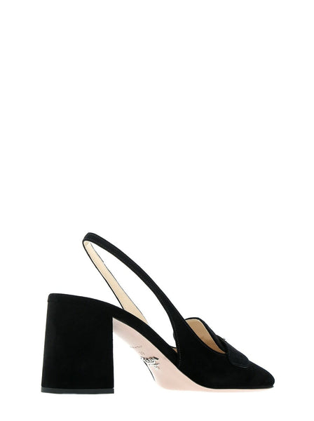 Triangle Logo Suede Slingback Pumps