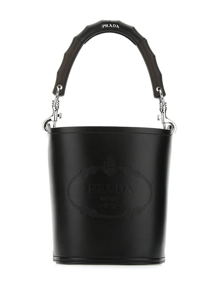 Leather Stamped Wood Handle Bucket Bag