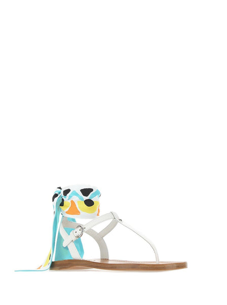 Saffiano Scarf Thong Sandals