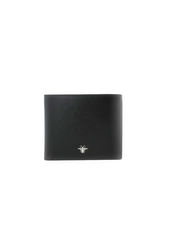 Smooth Leather Signature Bee Wallet - Black