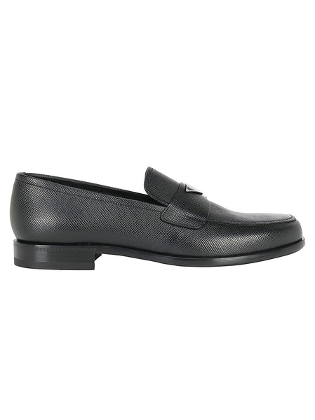 Men's Saffiano Leather Triangle Logo Loafers