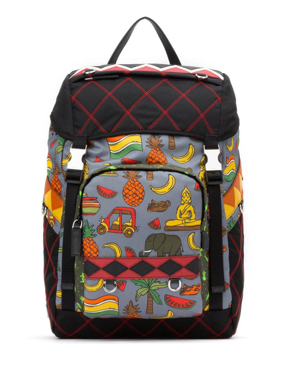 Quilted Nylon & Leather Fruit & Animal Print Backpack - Black / Red / Multi