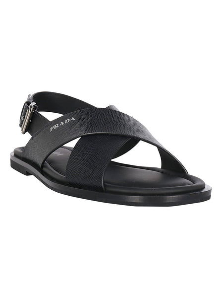 Men's Saffiano Leather Crossover Sandals