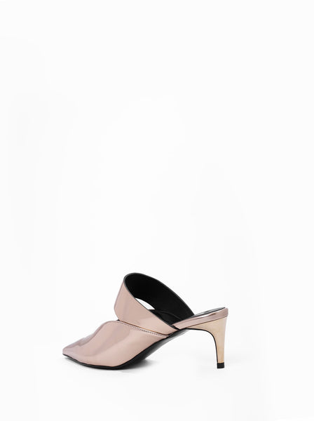 Point Toe Mirrored Leather Mules