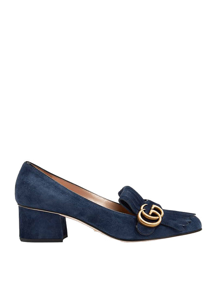 Double G Suede Mid-Heel Pumps - Blue