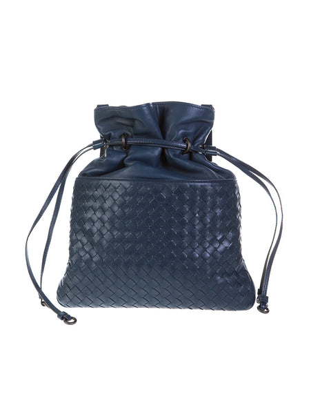 Intrecciato Drawstring Crossbody Bag - Navy