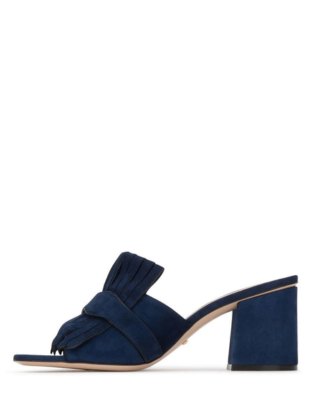 Suede Mid-Heel Slides - Ink Blue
