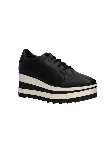 Lace-Up Striped Platform Oxfords - Black / Black & Ivory