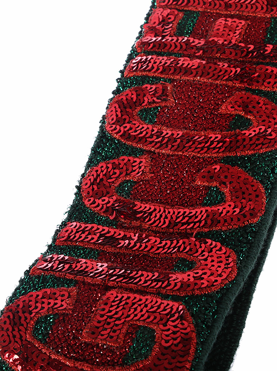 ce3085b3 Sequin Embellished Guccification Metallic Headband - Red / Green|Amuze