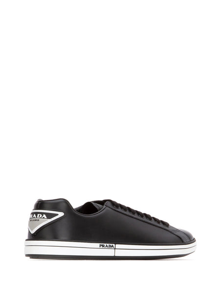 Leather Triangle Patch Platform Sneakers - Black / White