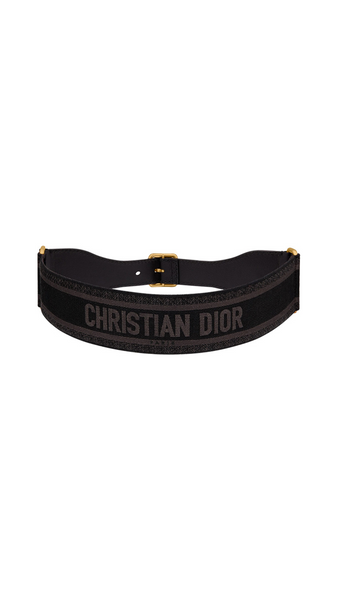 Embroidered Logo Belt - Black / Brown