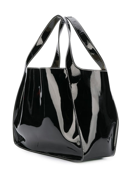 Faux Patent Leather Stella Logo Tote Bag