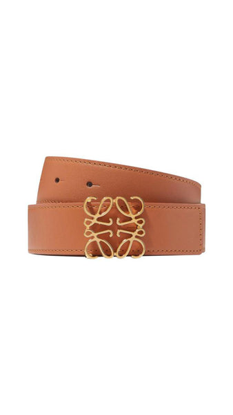 Anagram Belt in Soft Calfskin - Tan / Black