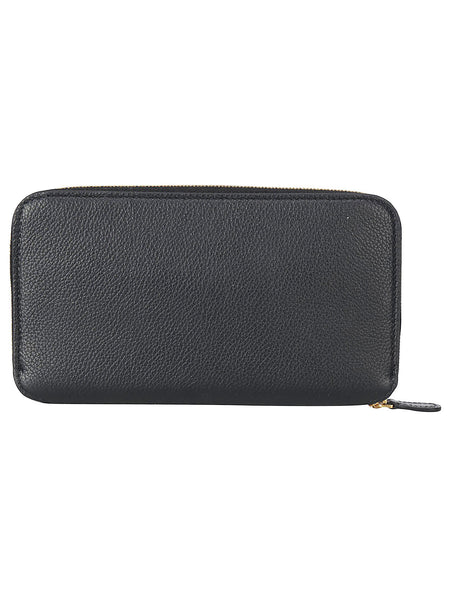 Grained Leather Ziparound Continental Wallet