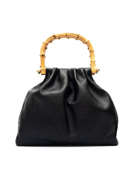 Nappa Leather Bamboo Handle Bag