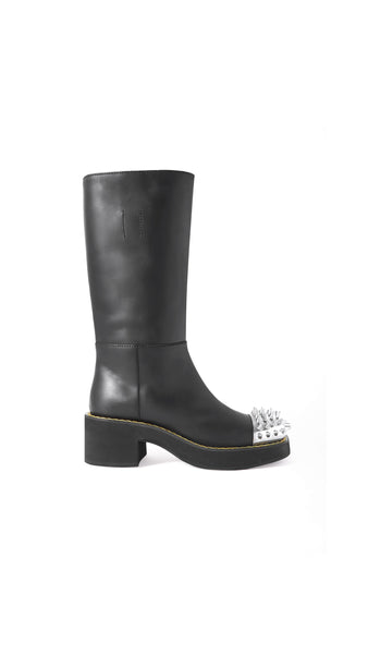 Spiked Low Heel Calf Boots