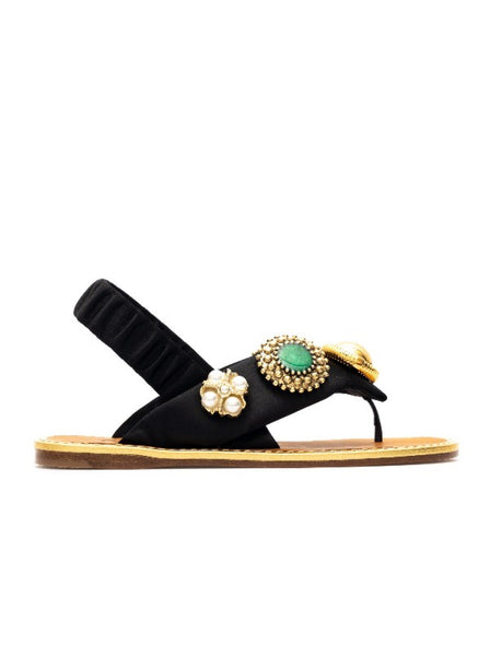 Jewel Embellished Satin Sandals