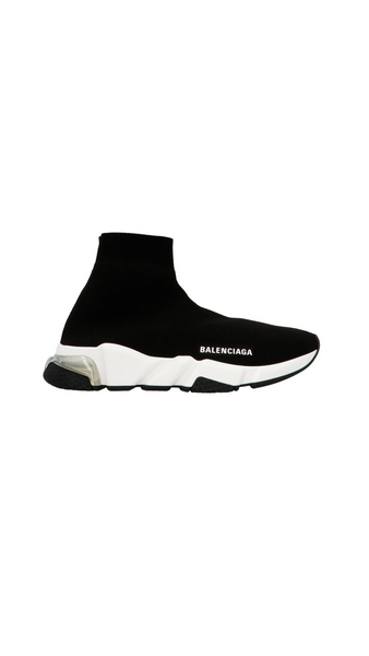 Sock Runners Clear Sole Sneakers - Black / White
