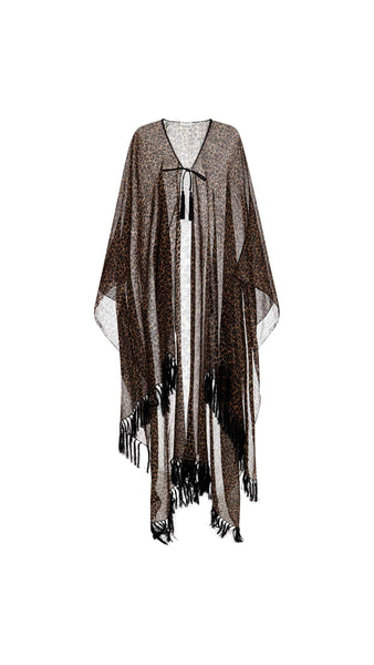 Fringed Poncho in Heart Shaped Leopard Print
