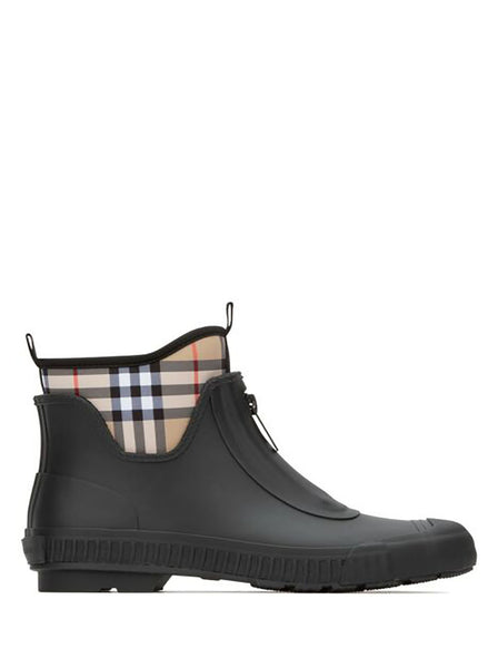 Check Neoprene & Rubber Rain Boots - Black / Multicolor