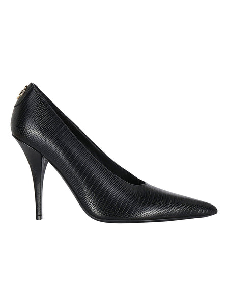Python Embossed Leather Pumps