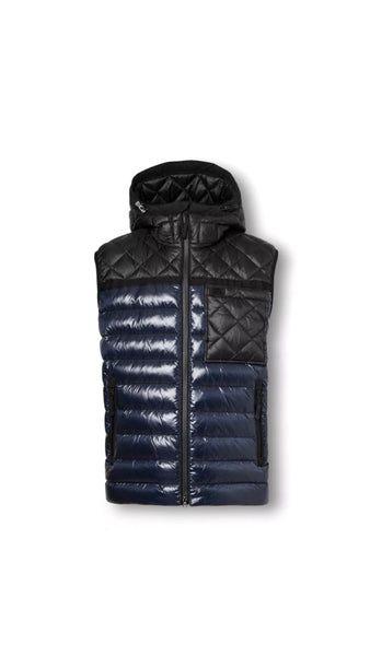 Diamond Quilted Panel Hooded Puffer Vest - Midnight