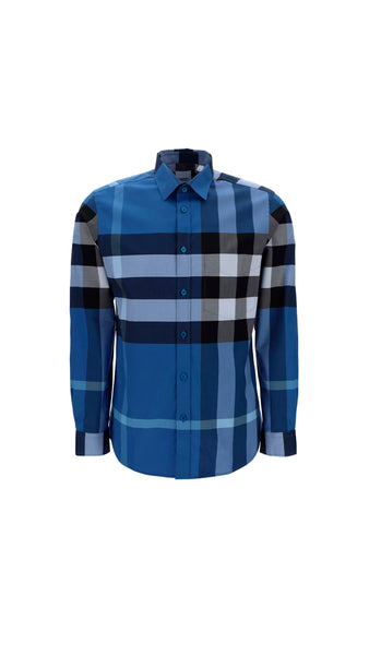 Check Stretch Cotton Poplin Shirt - Blue