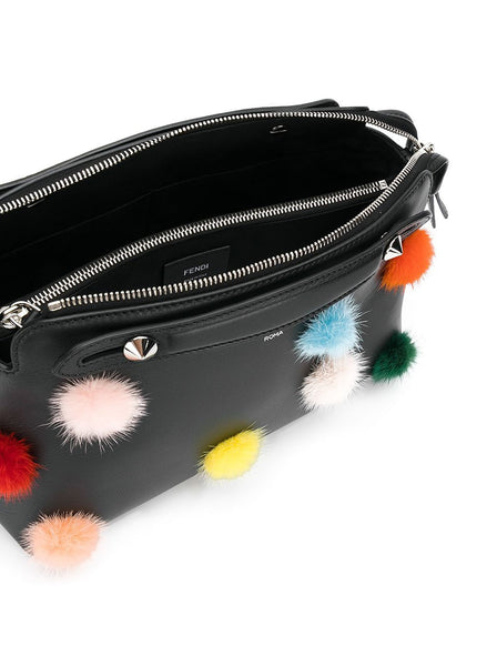 By The Way Pom-Pom Calf Leather Satchel Bag - Black