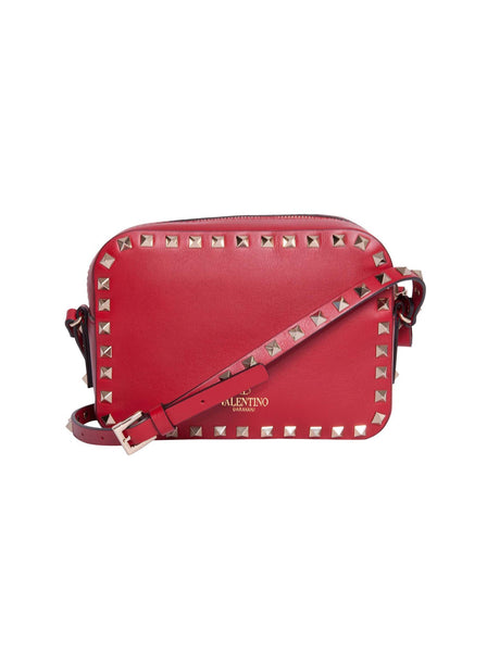 Rockstud Mini Smooth Leather Camera Shoulder Bag - Red