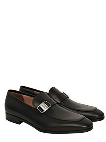 Benson Calf Leather Buckle Detail Loafers - Black